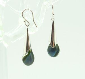 Blue Green helix Droplet Earrings