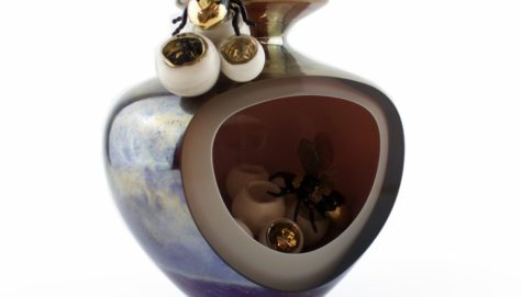 Handblown Glass Overlay Vessel. Individually made glass bees and nest with Gold Glass lustre